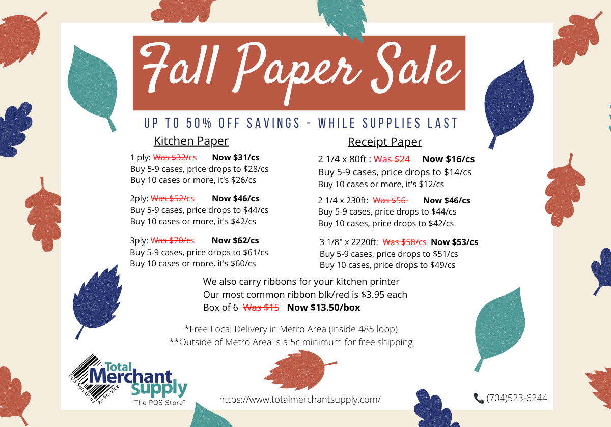 Fall Printer Paper Sale at Total Merchant Supply